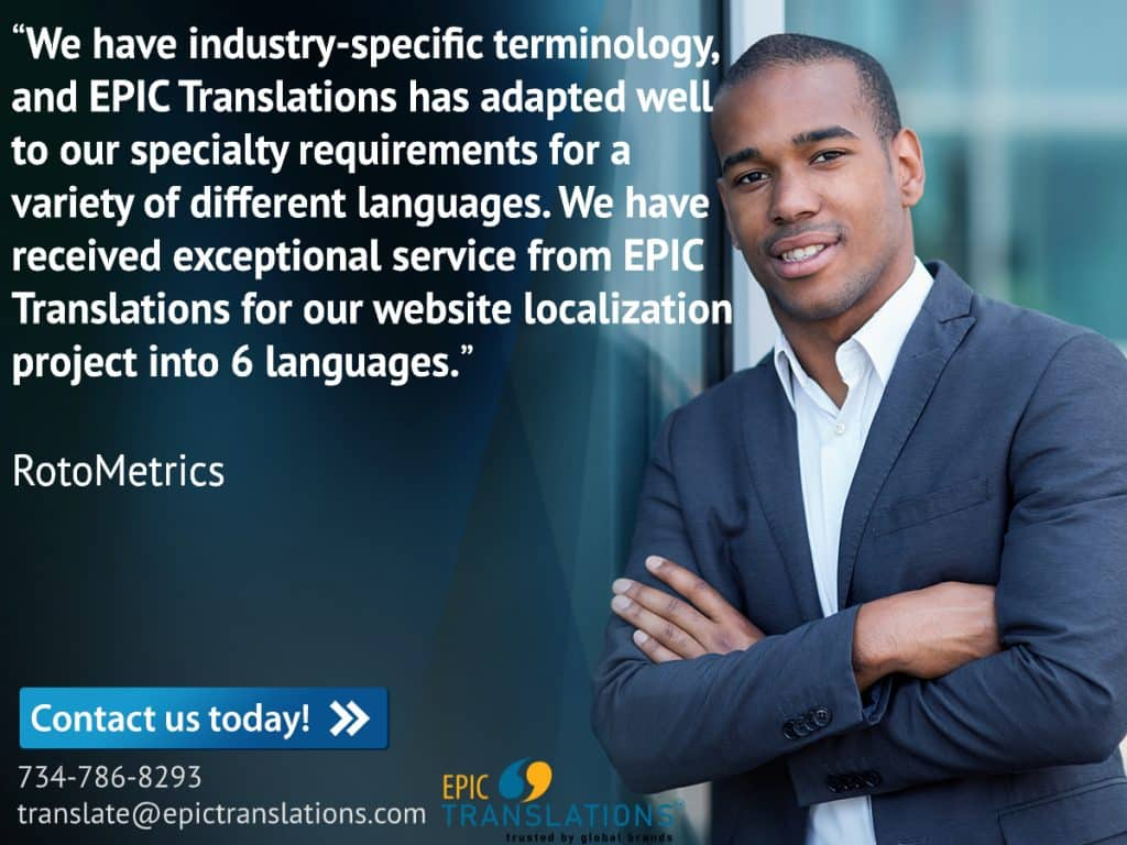 RotoMetrics EPIC Translations testimonial for website localization