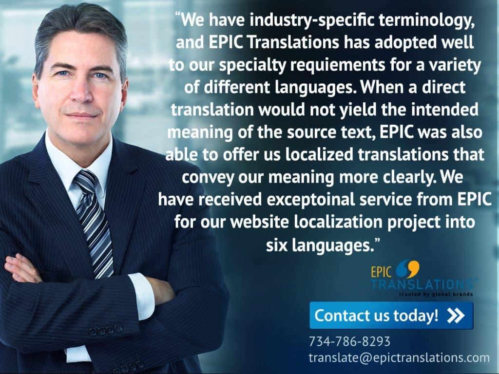 Rotometrics. testimonial for epic translations document translation services